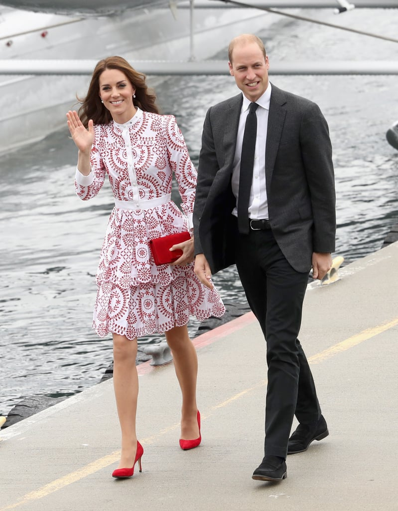 Kate punctuated her red and white print with cherry-red heels and a matching clutch.