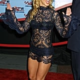 2001: Britney arrived in this sexy lace outfit by Dolce & Gabbana.