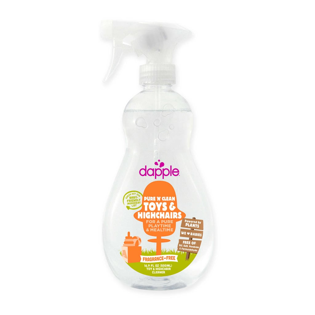 Clean the highchair after a messy meal or give toys a quick wipe after a sniffling pal visits with Dapple Pure 'N' Clean Toys and Highchairs Cleaner Spray ($6). It easily removes food stains and keeps germs at bay without harsh chemicals or scents. In other words, you'll feel OK about your kiddo popping the toy back in his mouth when you're done cleaning it.