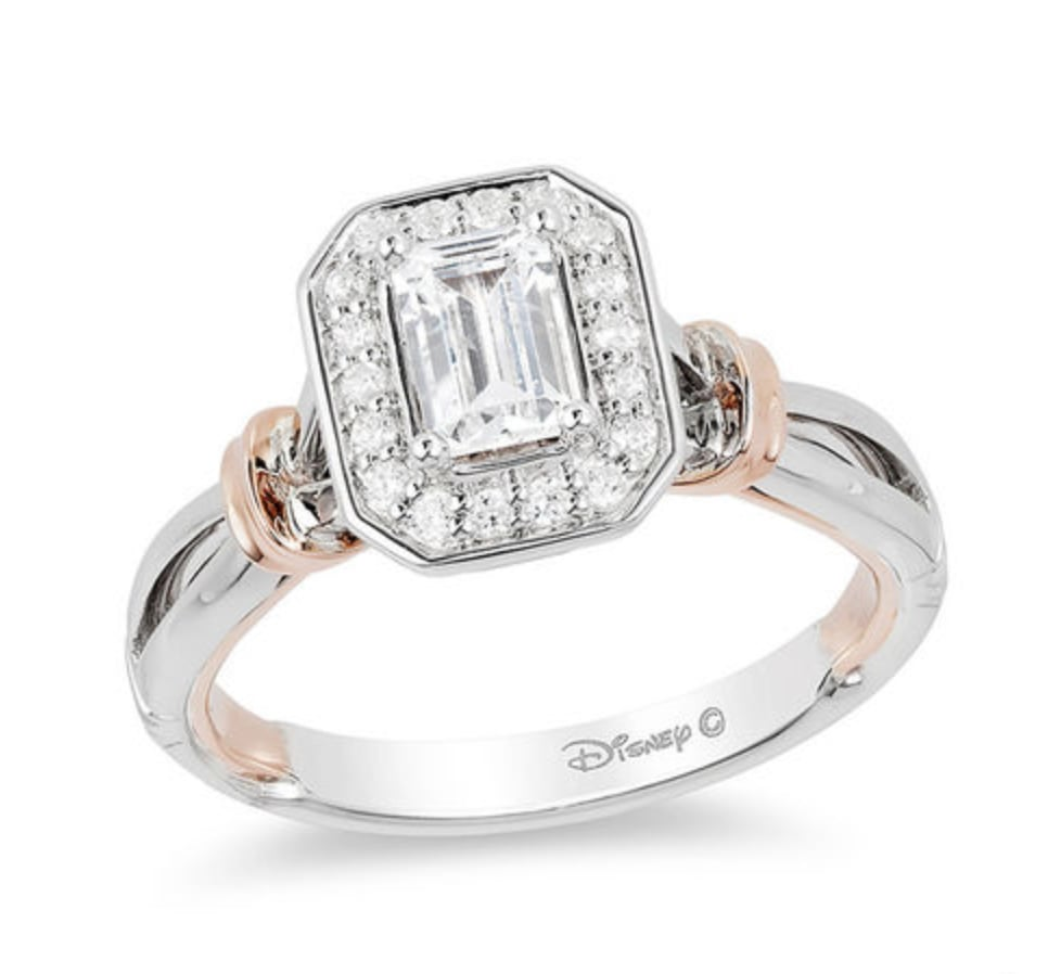 Snow White Emerald-Cut Diamond Frame Engagement Ring | Zales Disney ...