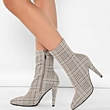 Shein Plaid Printed Pointed Stretch Sock Heel Booties