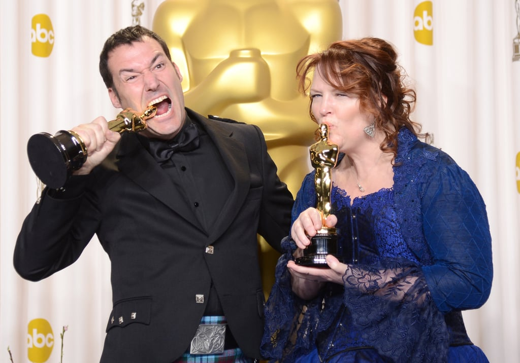 Mark Andrews and Brenda Chapman had fun in the press room celebrating their win for their work in the movie Brave.