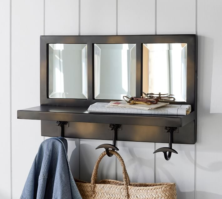 Foyer Mirror With Hooks : Eagan bronze window pane entryway mirror with hooks