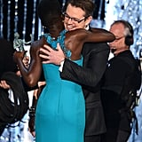 Matt Damon gave Lupita Nyong'o a hug while presenting her with a SAG Award in January 2014.