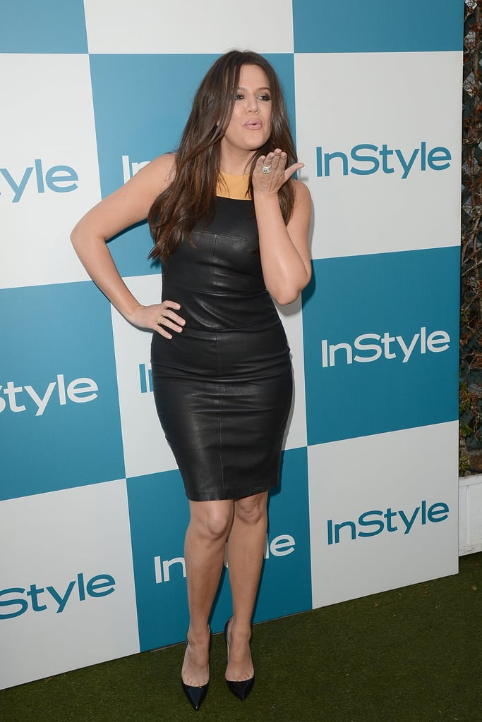Khloé Kardashian blew a kiss at InStyle's summer party in LA.