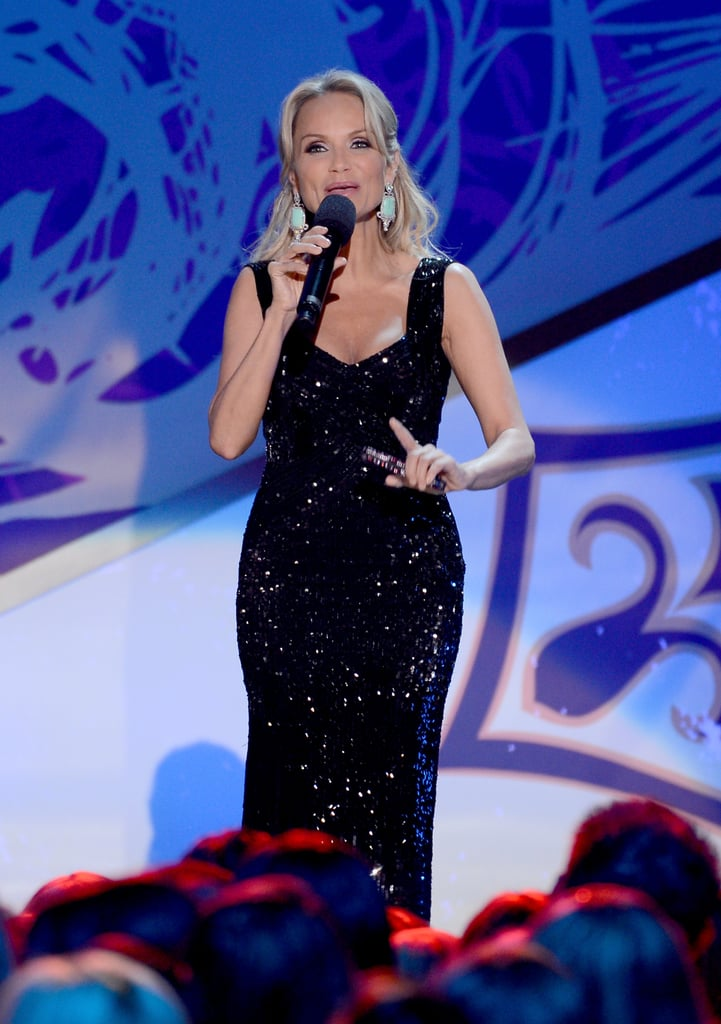 Kristin Chenoweth changed into a black gown while hosting.