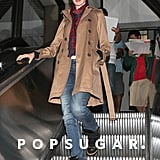 Anne Hathaway sported her black Isabel Marant sneakers with jeans and a dark camel trench coat for a casual-cum-chic appeal.