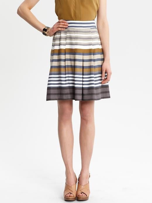 This modern take on a traditional pleated skirt randomly mixes multicolored stripes for a whimsical yet work-appropriate look. Banana Republic Maggie Striped Full Skirt ($90)