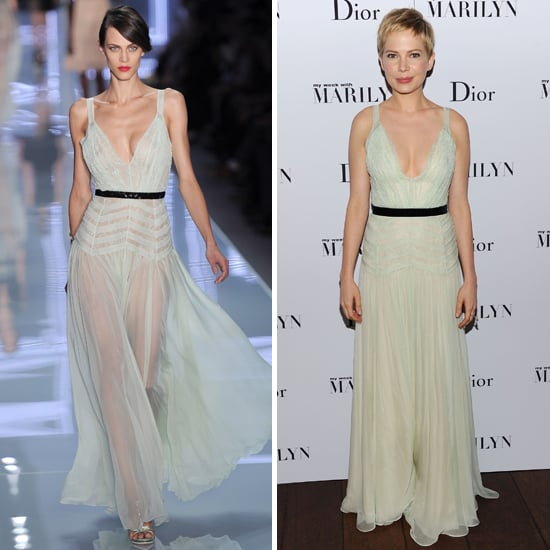 Pictures of Michelle Williams in Christian Dior Sheer Mint dress Hot Off the Runway at My Week With Marilyn Premiere in New York