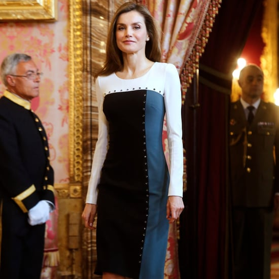 Queen Letizia's Colorblock Dress April 2017