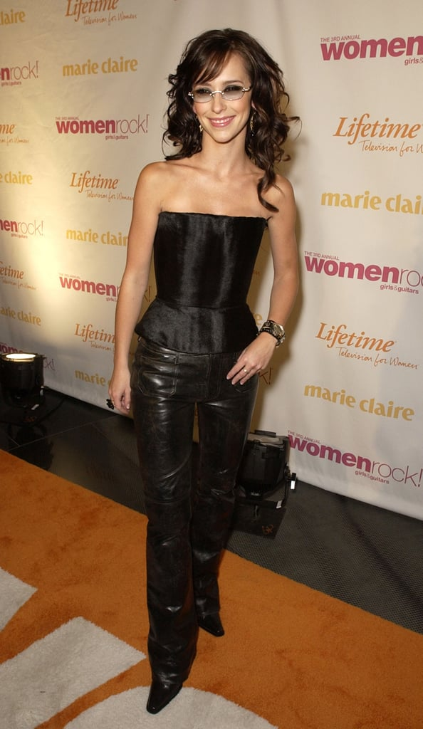 Jennifer Love Hewitt dressed up in LA at the Women Rock! Girls and Guitars concert, benefiting breast cancer research, in October 2002.