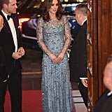 Kate channeled Disney's Elsa when she attended the Royal Variety Performance at the Palladium Theatre in London. For the special occasion, she wore an icy-blue, crystal-beaded gown by Jenny Packham.
