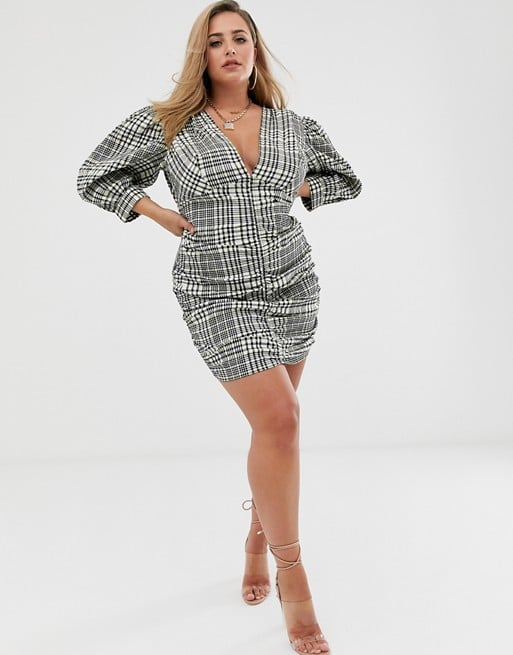 ASOS Design Curve Ruched Minidress With Puff Sleeves in Check Print