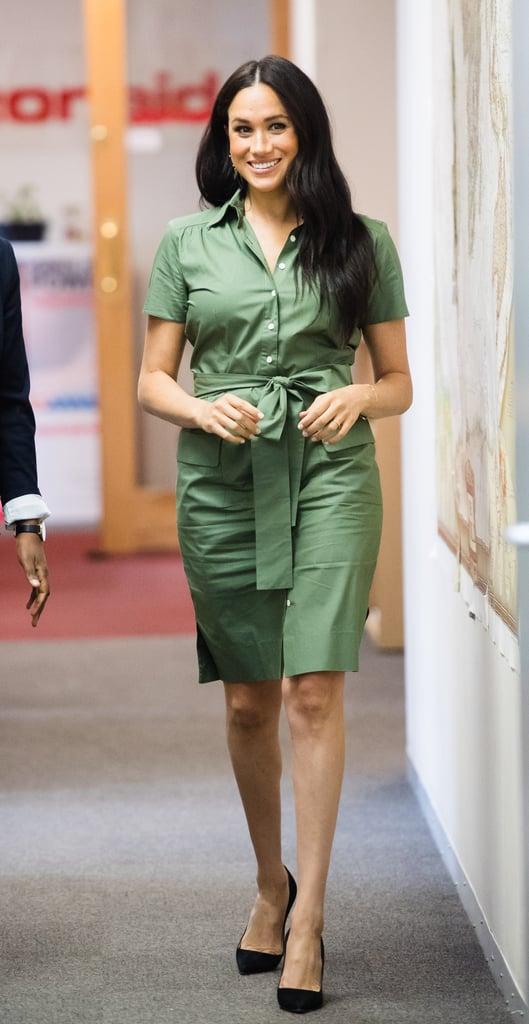 Meghan Markle Wearing an Evil Eye Bracelet and Green Shirtdress