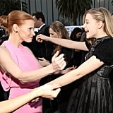 Jessica Chastain and Chloe Moretz go in for the hug.