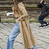 Miroslava Duma wearing Vetements jeans at Milan Fashion Week.