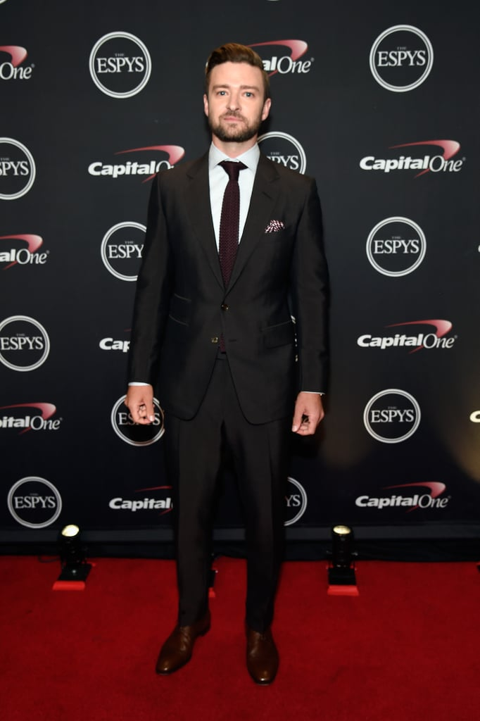 """Just when you thought the ESPYs couldn't get any hotter, Justin Timberlake shows up looking sexy in a Tom Ford suit and tie. On Wednesday, the """"Can't Stop the Feeling"""" singer popped up at the LA show to present Abby Wambach, Peyton Manning, and Kobe Bryant with the icon award. During his speech, Justin paid tribute to the retired athletes, saying, """"Before they all decided to say goodbye this past year, they had a lot in common. They were touted as stars from the start."""" He then continued, """"Their primes were as great, as legendary, as any in history. Super Bowl titles, Olympic gold medals, NBA championships, obliterated records. These are the achievements that are supposed to make you immortal."""" While Justin skipped the red carpet, he did pose for photos once inside the venue. Read on for more of Justin, then check out even more highlights from the night."""