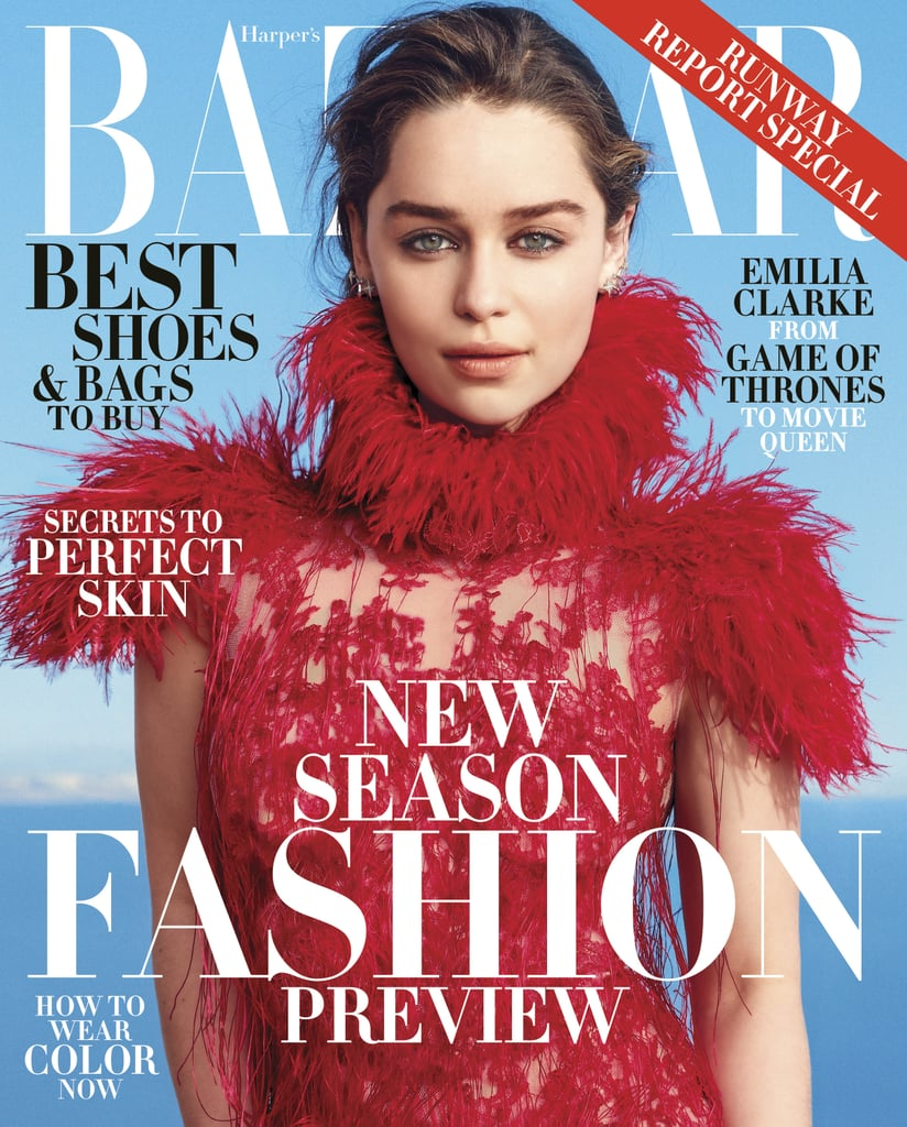 """Emilia Clarke stuns on the cover of the US June/July issue of Harper's Bazaar, and she definitely didn't hold back in her interview with the magazine. For one thing, she shared a story from the Game of Thrones set, revealing that one of her costars took the opportunity to praise her assets while they were shooting a scene. She also talked about what it was like to meet some of her famous fans, Channing Tatum and Jenna Dewan Tatum, commenting on how beautiful they are and talking about her hilarious reaction to their conversation. Keep reading to see some of her candid quotes plus gorgeous photos from the feature, then see why Daenerys Targaryen is the fiercest badass in the Seven Kingdoms.  On meeting Channing and Jenna Dewan Tatum: """"I was at a Golden Globes after party and Channing f*cking Tatum came up to me, and his stunning missus, Jenna Dewan. And they said, 'We call each other 'moon of my life' and 'my sun and stars'' and all that. And I was like, 'I cannot contain this. Please, can we all have something sexual together? You're both beautiful, even just a hug.'"""" On that final scene from Game of Thrones season one: """"The crew was a few cliffs over, so it's me, four or five extras, and Iain Glen [Ser Jorah Mormont]. Iain does this thing where he lifts his head up and his face goes, 'Ahh naked lady.' But because they were filming so far away, what he said was, 'Great tits, love.' I'm like, 'The camera's not on you, can you stop commenting on how great you think these breasts are?'"""" On working with Arnold Schwarzenegger for the upcoming Terminator: """"It never gets old. He was so much fun. I expected this massive ego to turn up, but he is this charming, sweet, kind man. He got really excited to film the scenes."""""""