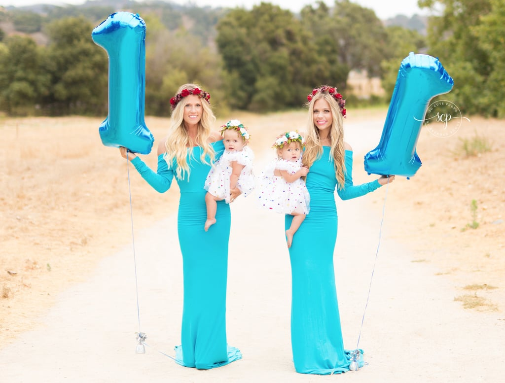 Twins Who Gave Birth on Same Day Re-Create Maternity Photo
