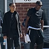Reggie and Obama look relaxed after playing basketball at Fort McNair army base in Washington.
