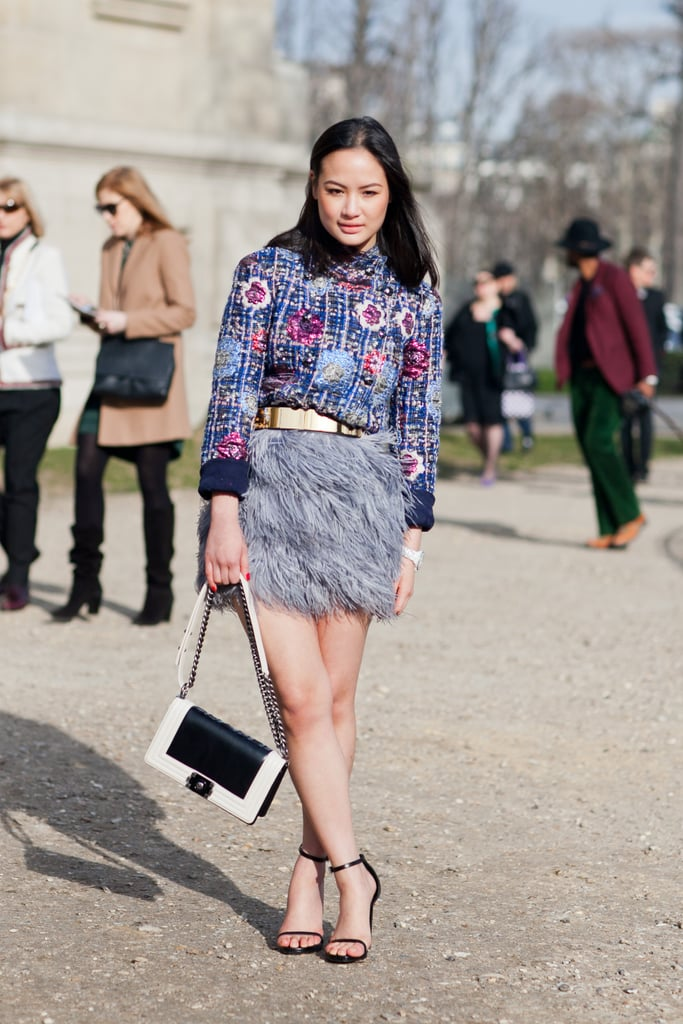 A tweedy top and feathered mini had a quintessentially Parisian chic effect. Source: Le 21ème | Adam Katz Sinding