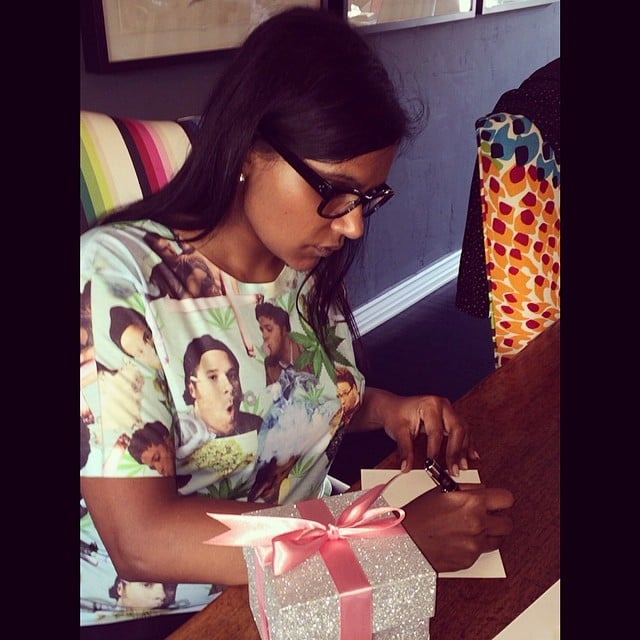 Strangely enough, Mindy Kaling also has a Seth Rogen shirt. Source: Instagram user mindykaling