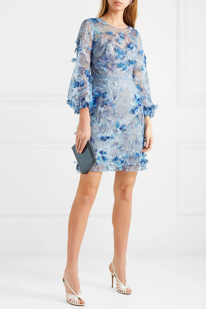 Marchesa Notte Satin-Trimmed Embroidered and Appliquéd Tulle Minidress