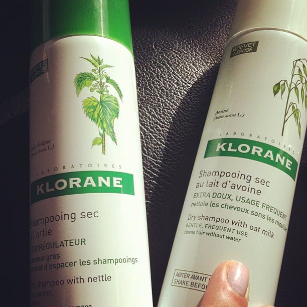 Cult French brand Klorane gave us a sneak peek at their new dry shampoo offering (left) — it's specially designed for oily hair and drops in October.