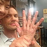 Gillian Jacobs documented her Community costars' vast difference in hand size. Source: Twitter user GillianJacobs