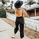 Opt For a Backless Jumpsuit, and Accessorize It With a Hat