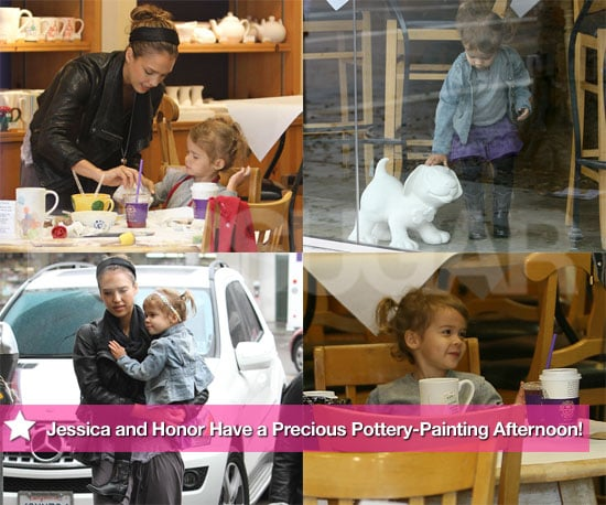 Pictures of Jessica Alba and Honor Warren Painting Pottery in LA