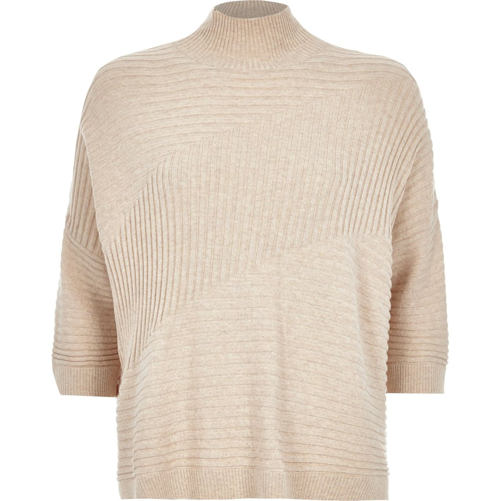 River Island Oatmeal Textured Ribbed High Neck Sweater ($70)