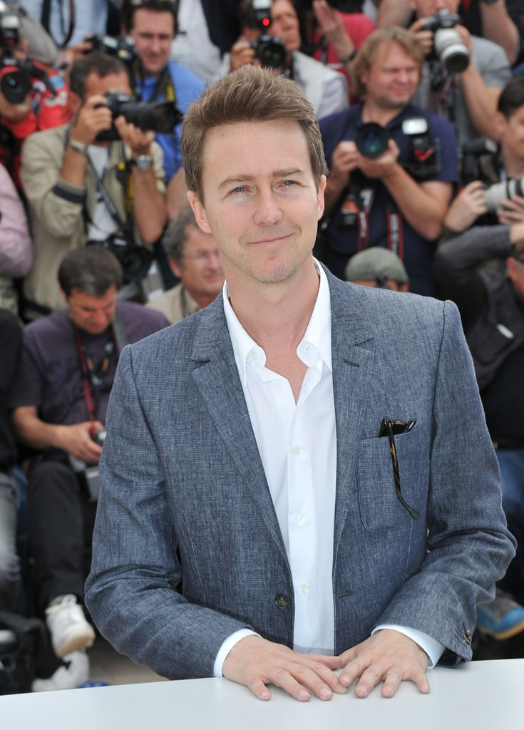 Edward Norton smiled for photographs at the Moonrise Kingdom photocall at the Cannes Film Festival.