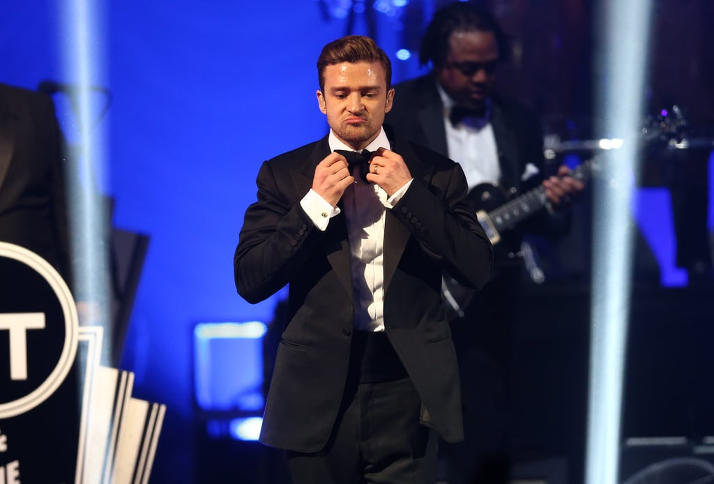 """Justin Timberlake sported a cute pout during his """"Suit & Tie"""" performance Saturday night at the DIRECTV Super Saturday night."""