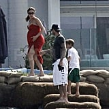Victoria Beckham with David and her boys in Malibu.