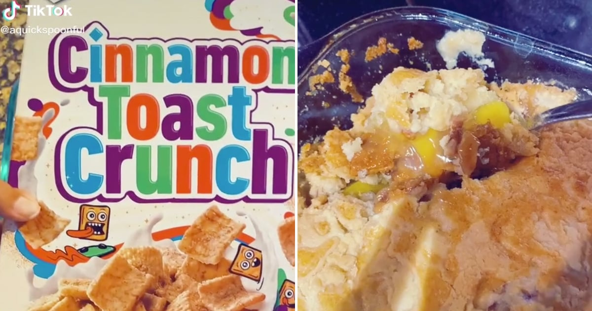 This Easy Cinnamon Toast Crunch Dump Cake Is Layered With a Gooey Peach Pie Filling