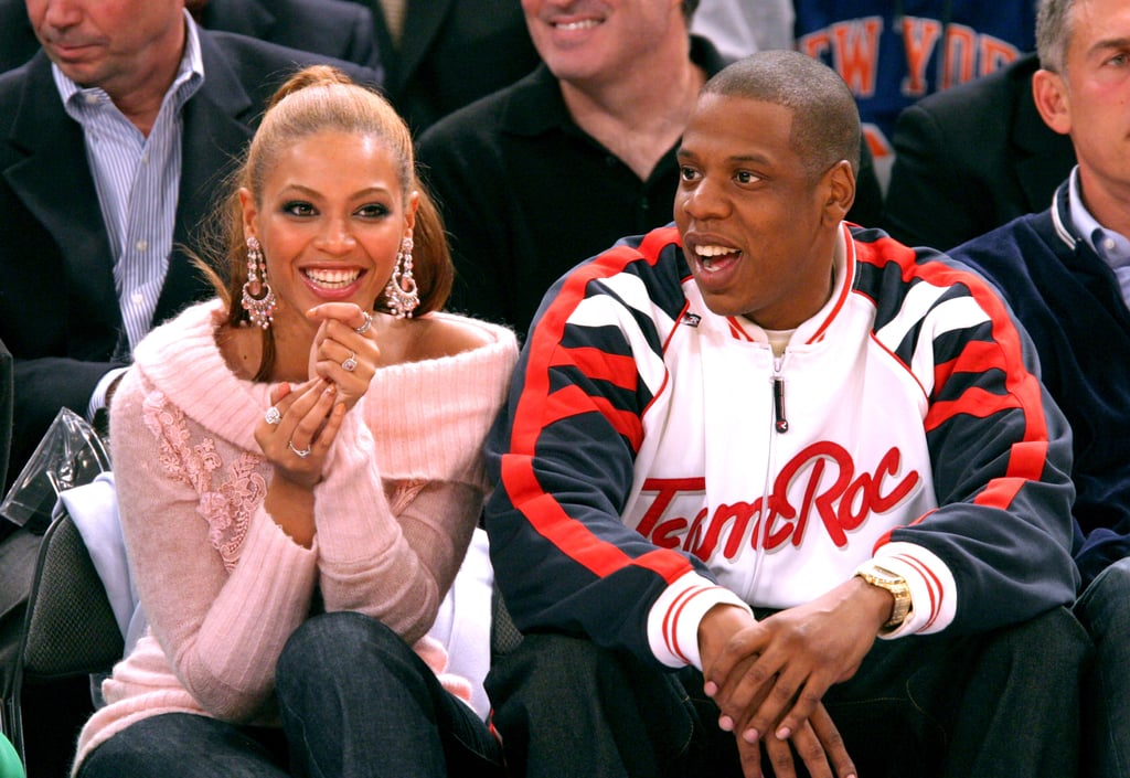 Basketball fans Jay Z and Beyoncé watched the Houston Rockets take on the New York Knicks at Madison Square Garden in January 2004.