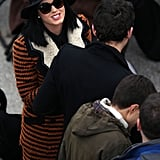 Katy Perry bundled up in a striped Marni coat and a wide-brim hat at President Obama's swearing-in ceremony in Washington DC.