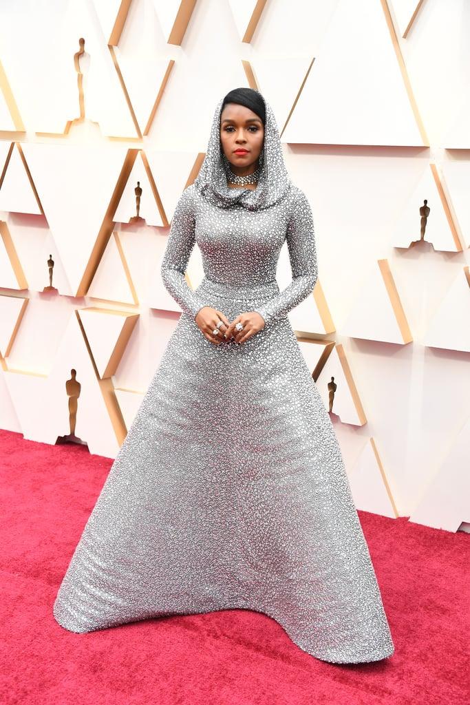 Janelle Monáe Wearing Ralph Lauren at the Oscars 2020 | Janelle Monae  Silver Cape Ralph Lauren Dress at Oscars 2020 | POPSUGAR Fashion UK Photo 2