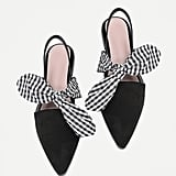 SheIn Gingham Bow-Tie Pointed-Toe Flats