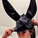 Victoria Beckham modelled a bunny hat while showcasing her Victoria Victoria Beckham line. Source: Twitter user victoriabeckham