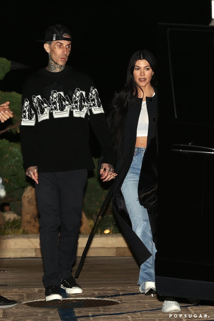 """Kourtney Kardashian and Travis Barker have been friends for years, and it was only recently that their relationship turned romantic. The 41-year-old Keeping Up With the Kardashians star casually confirmed her romance with the 45-year-old Blink-182 drummer in February with a sweet photo of them holding hands. Since then, the couple seems to be more open to giving us glimpses of their relationship, posting photos of their love notes on social media and showing PDA during their date nights.  In an interview with Drew Barrymore earlier this month, Travis called Kourtney a great mom and friend and said it's much easier for him to date someone with children because they understand what that's like. """"It just comes natural,"""" he admitted. Kourtney has three kids with ex Scott Disick — daughter Penelope, 8, and sons Mason, 11, and Reign, 6 — while Travis shares stepdaughter Atiana, 22, daughter Alabama, 15, and son Landon, 17, with his ex-wife, Shanna Moakler. As Kourtney and Travis's romance continues to heat up, take a look at all the cute moments they've shared so far.      Related:                                                                                                           Kourtney Kardashian and Travis Barker Offered a Cute Glimpse of Their Blended-Family Dynamic"""