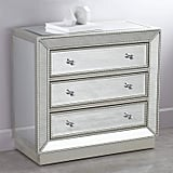 """Trevi 32"""" Wide 3-Drawer Silver Mirrored Accent Chest"""