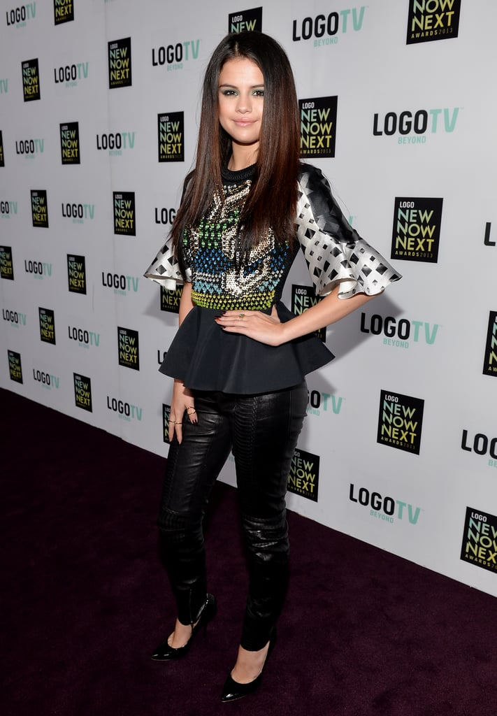 For the NewNowNext Awards in April 2012, Selena Gomez paired her Peter Pilotto peplum top with skinny Plein Sud leather pants and heels.
