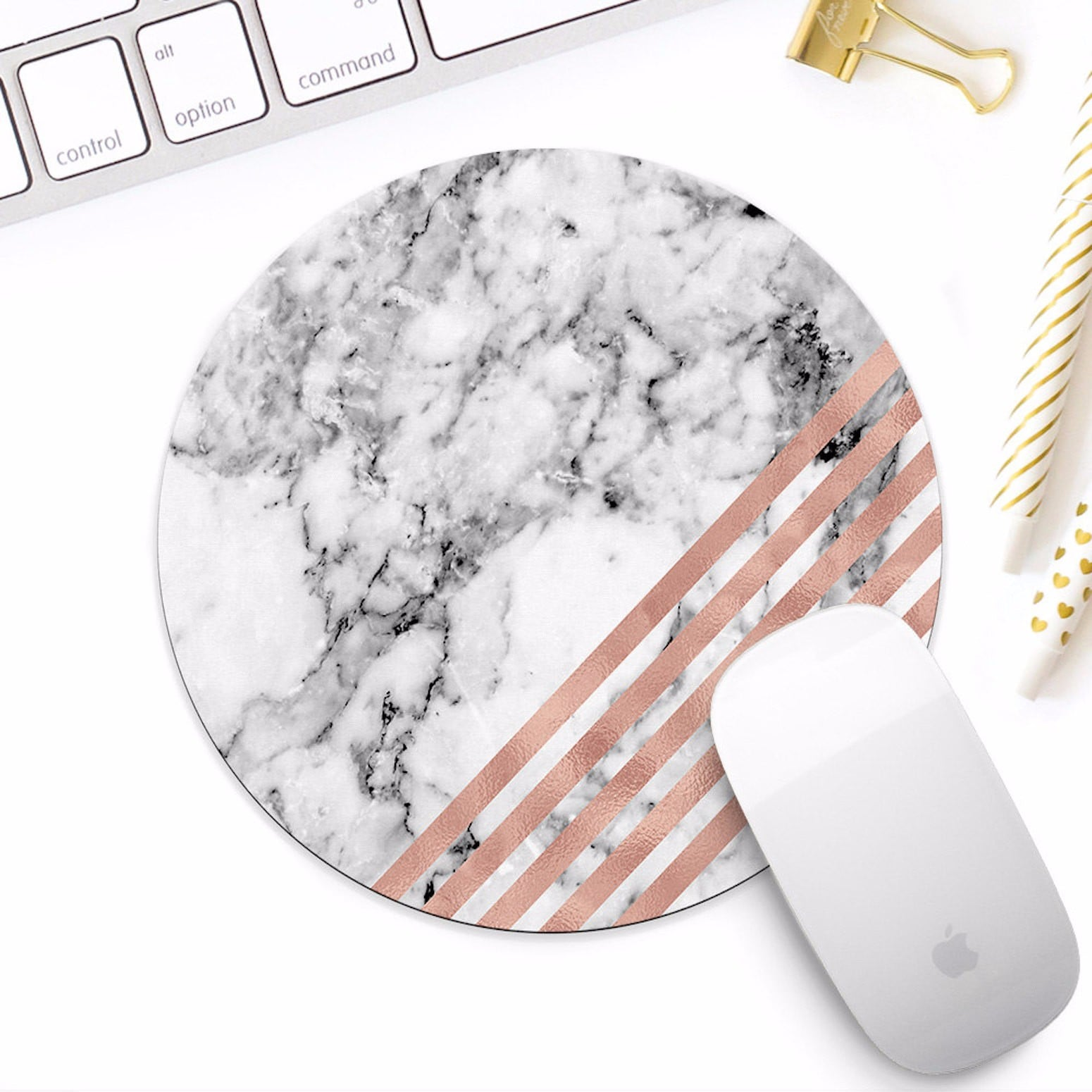 Marble Drink Coasters and Phone Stand Office Desk Decor Pink Accessories Gift Set for Women