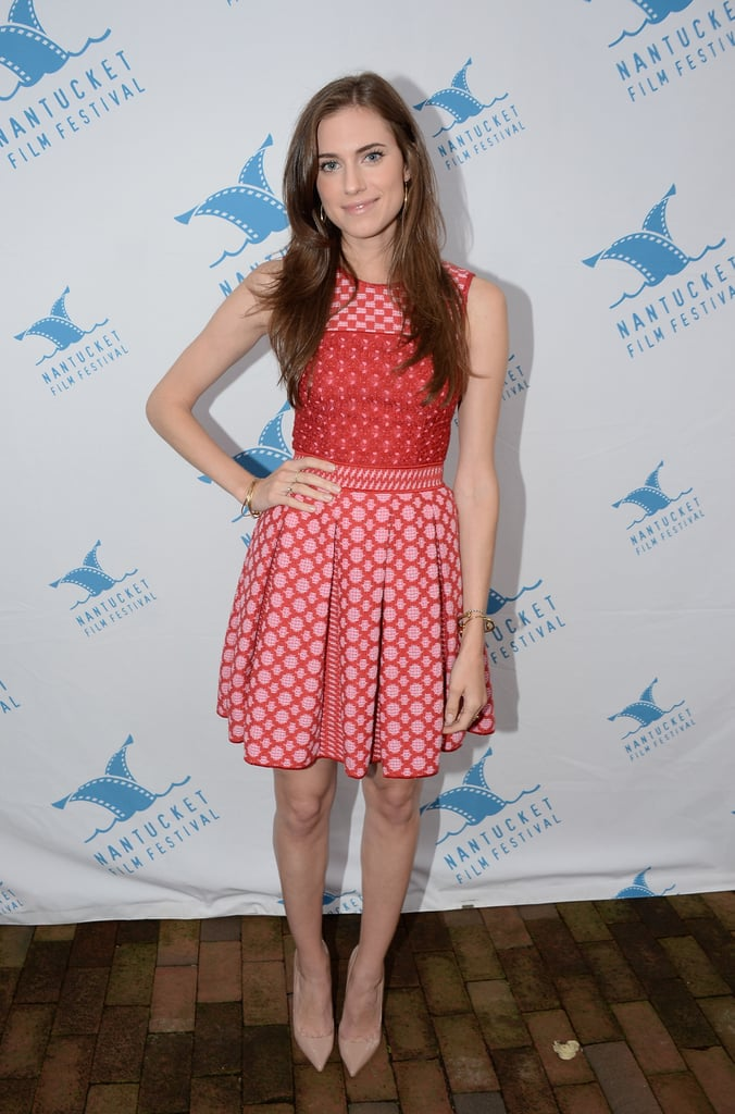 Allison Williams got print happy in a red pleated dress in Nantucket, MA.