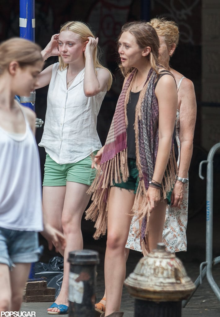 Dakota Fanning and Elizabeth Olsen on the set of their new film Very Good Girls.