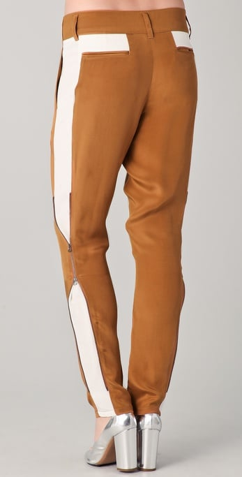 We love Phillip Lim's sleek rendition of the track pants colorblocked in tan and white.  3.1 Phillip Lim Side Panel Trousers with Zippers ($450)