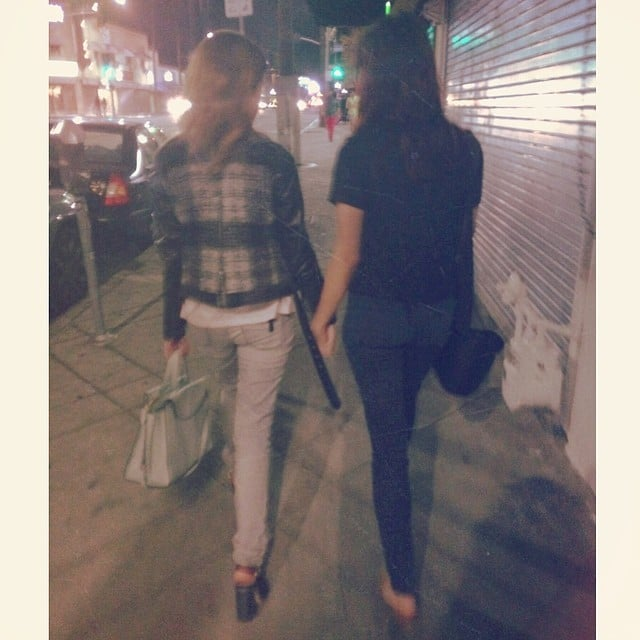 Anna Kendrick strolled hand in hand with best friend Aubrey Plaza. Source: Instagram user annakendrick47