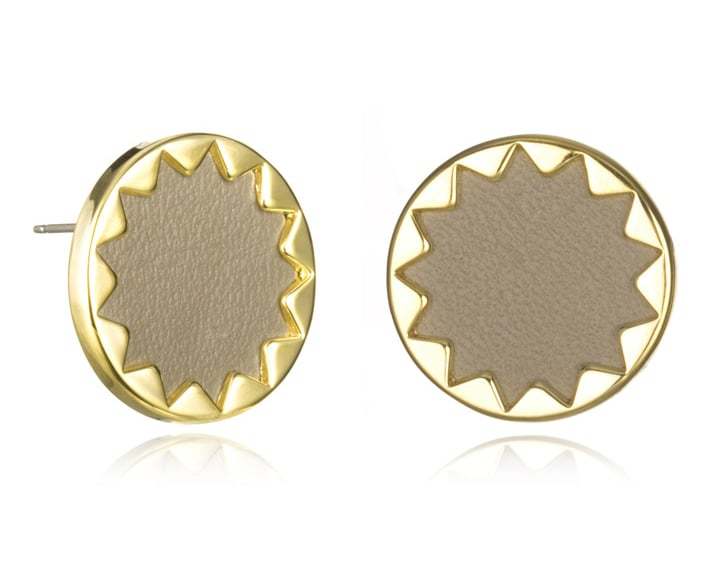 House of Harlow Khaki Leather and Gold Sunburst Earrings ($32)